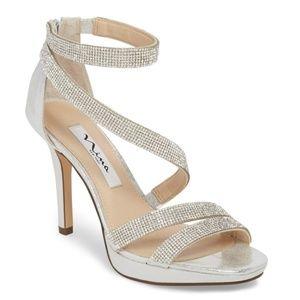 New Elegant Sparkly Silver Nina Heels